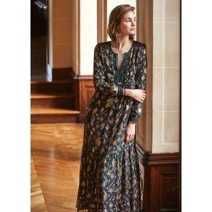 Sezane Davyda silk floral robe dress